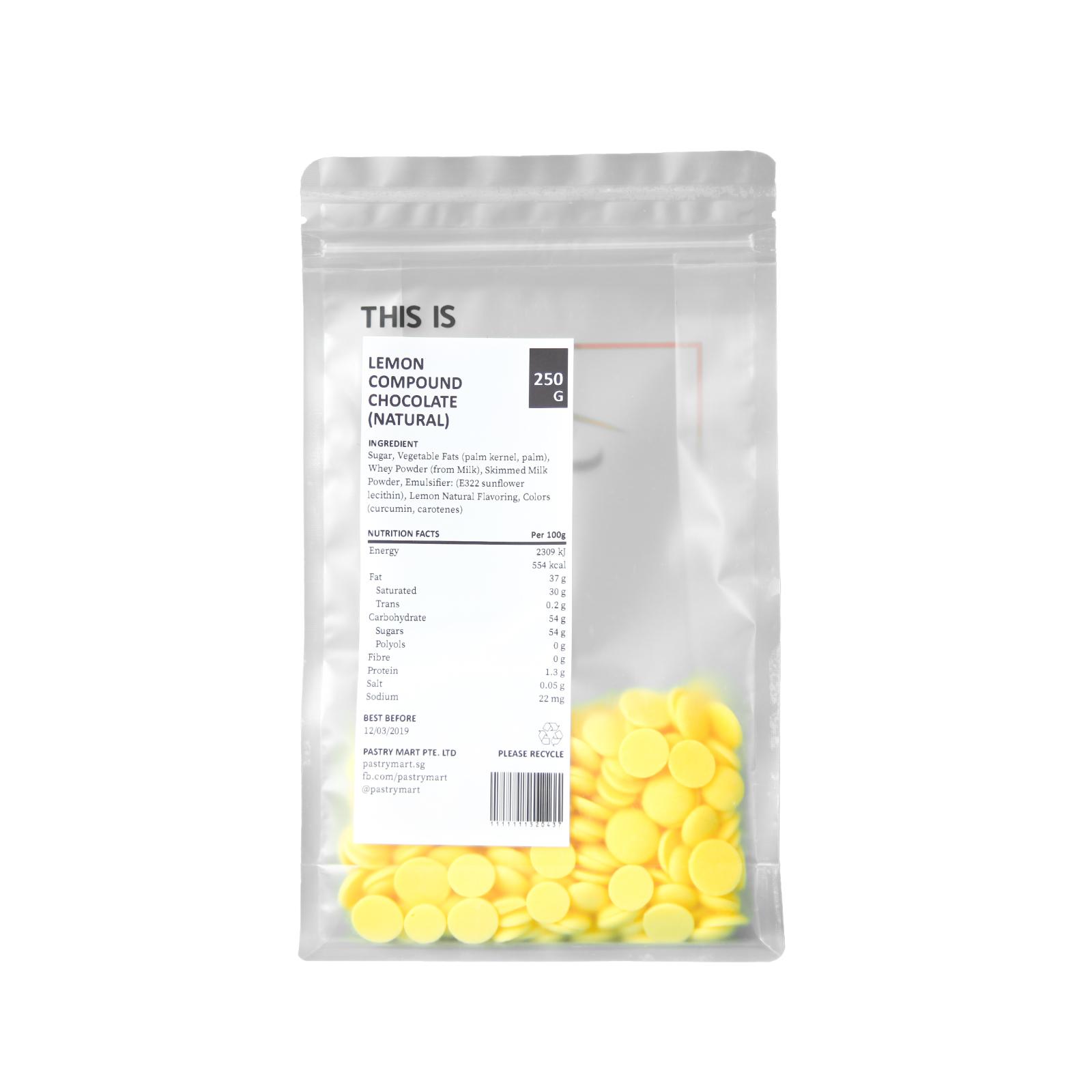 Pastry Mart Lemon Compound Chocolate (Natural Flavouring and Colouring) - 250 g