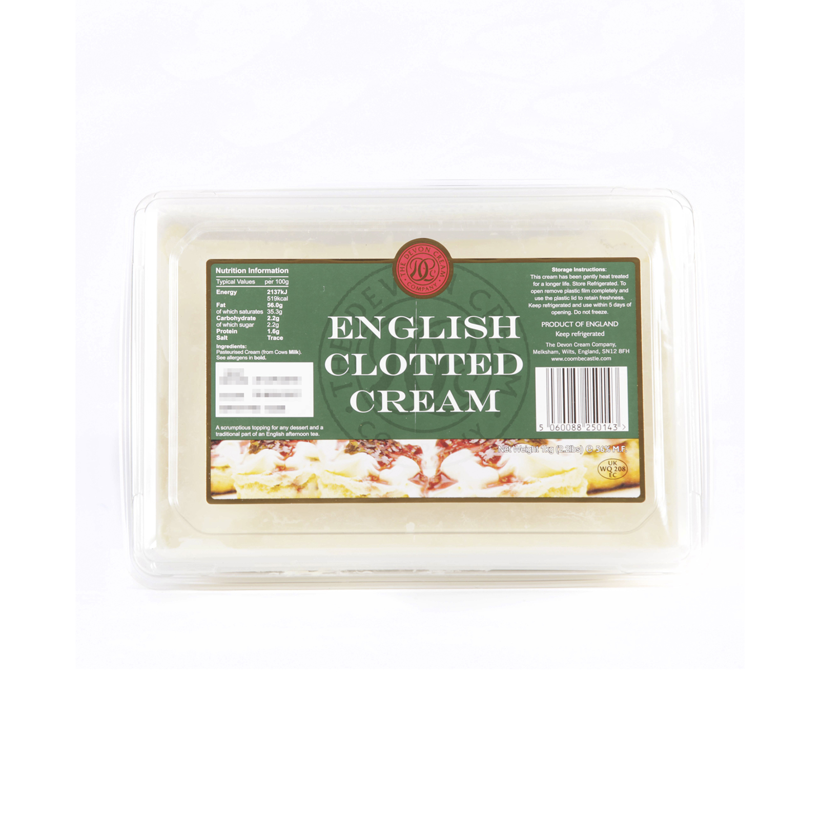English Clotted Cream 56% Fat – 1 kg